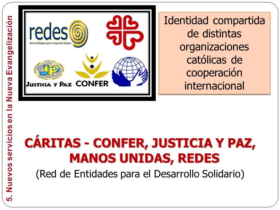 CÁRITAS - CONFER, JUSTICIA Y PAZ, MANOS UNIDAS, REDES (Red de Entidades para el Desarrollo Solidario) Identidad compartida de distintas organizaciones