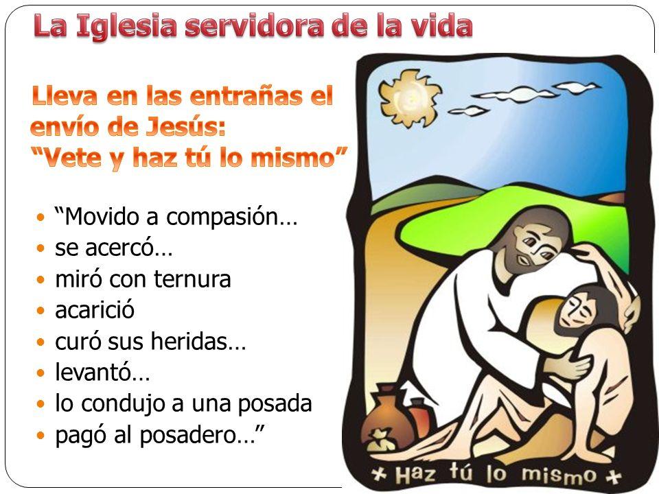 Movido a compasión… se acercó… miró con ternura acarició curó sus heridas… levantó… lo condujo a una posada pagó al posadero…