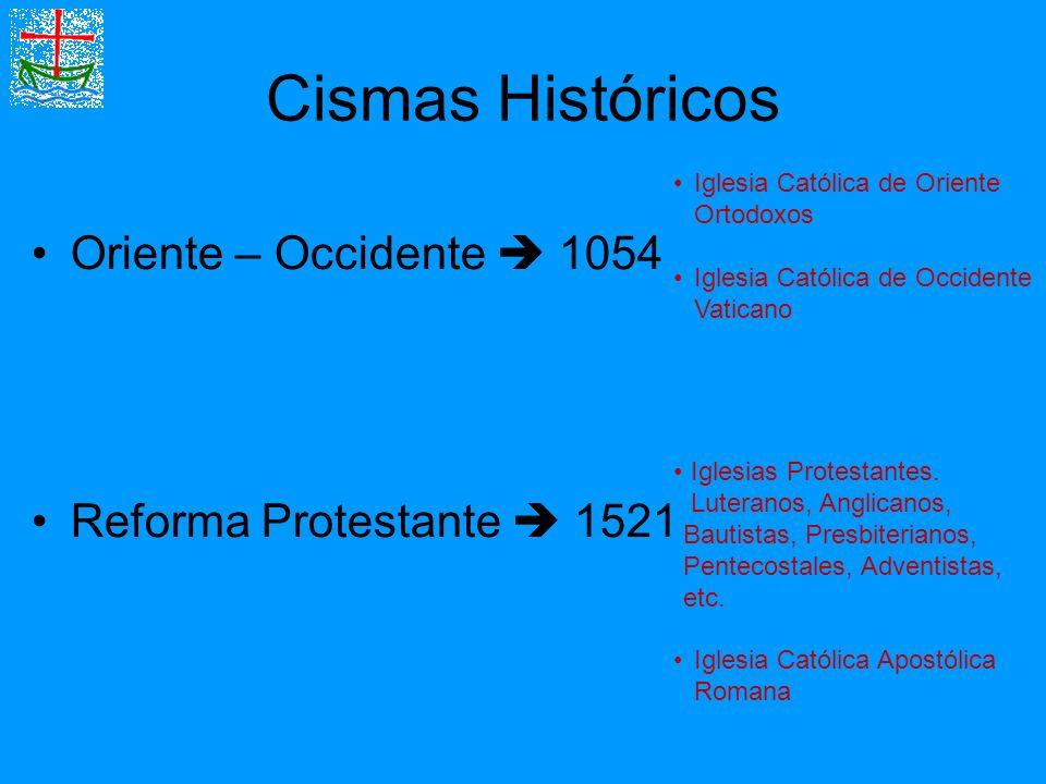 Cismas Históricos Oriente – Occidente 1054 Reforma Protestante 1521 Iglesia Católica de Oriente Ortodoxos Iglesia Católica de Occidente Vaticano Igles