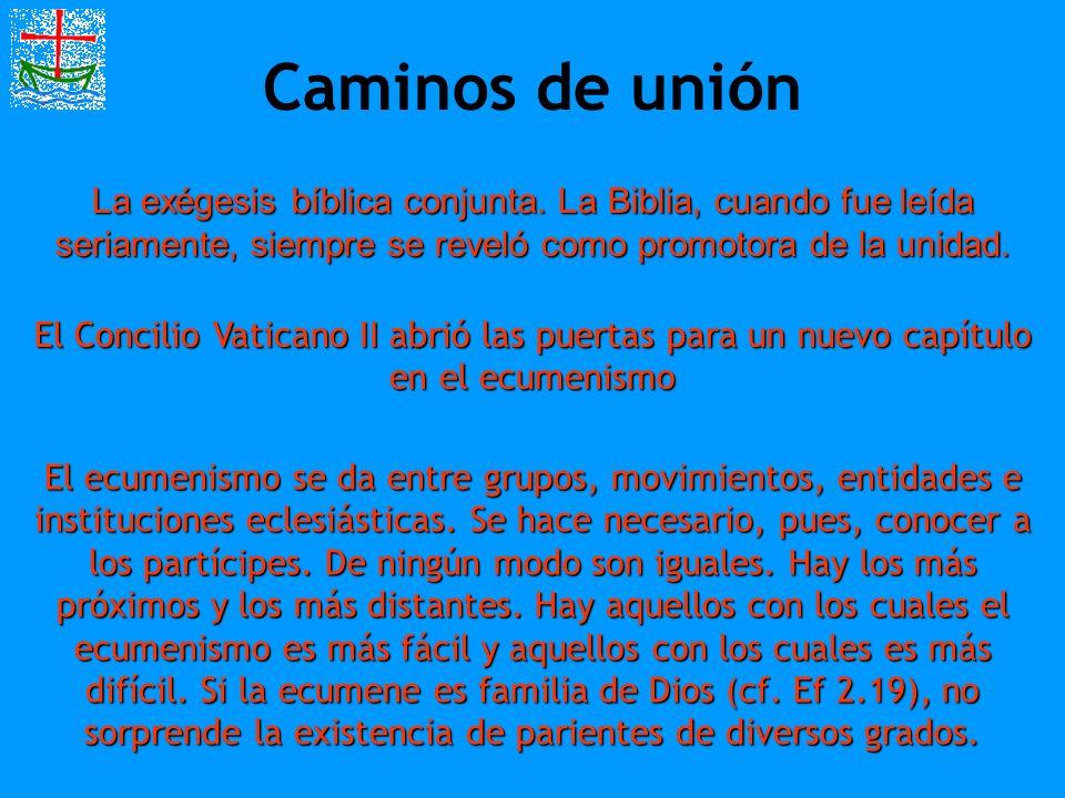 Caminos de unión La exégesis bíblica conjunta. La Biblia, cuando fue leída seriamente, siempre se reveló como promotora de la unidad. El Concilio Vati