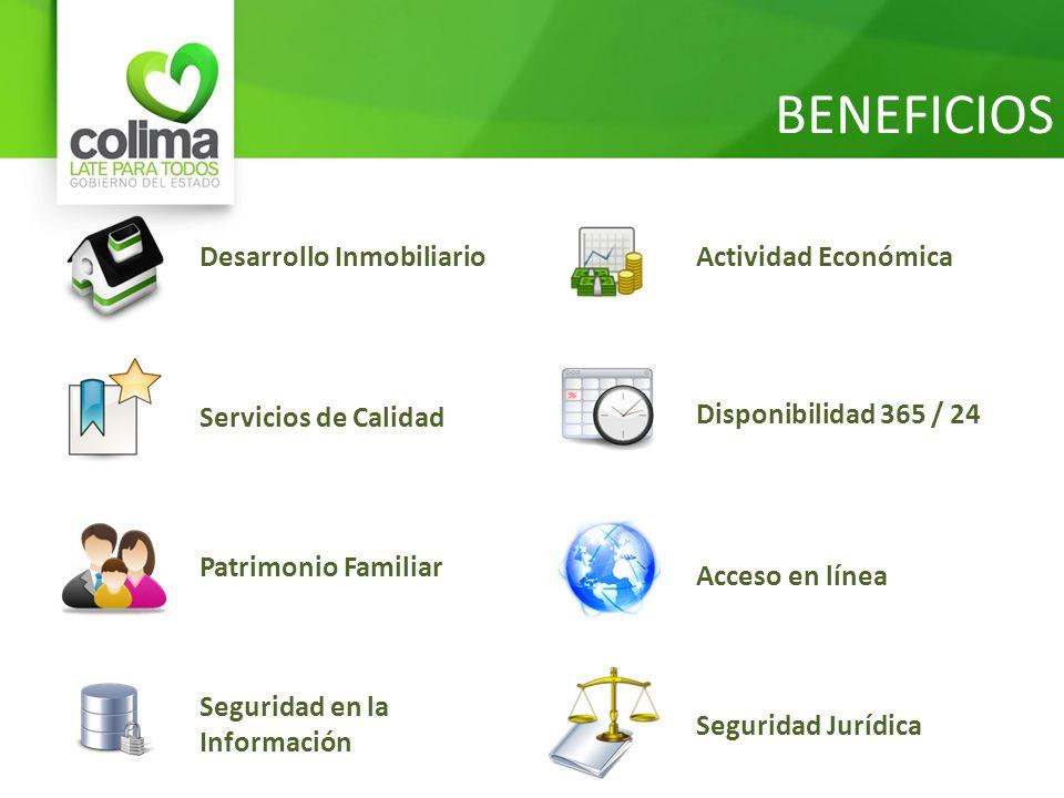 BENEFICIOS Desarrollo Inmobiliario Servicios de Calidad Patrimonio Familiar Seguridad en la Información Actividad Económica Disponibilidad 365 / 24 Ac