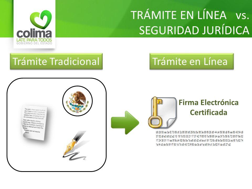 TRÁMITE EN LÍNEA vs. SEGURIDAD JURÍDICA Firma Electrónica Certificada Trámite Tradicional Trámite en Línea