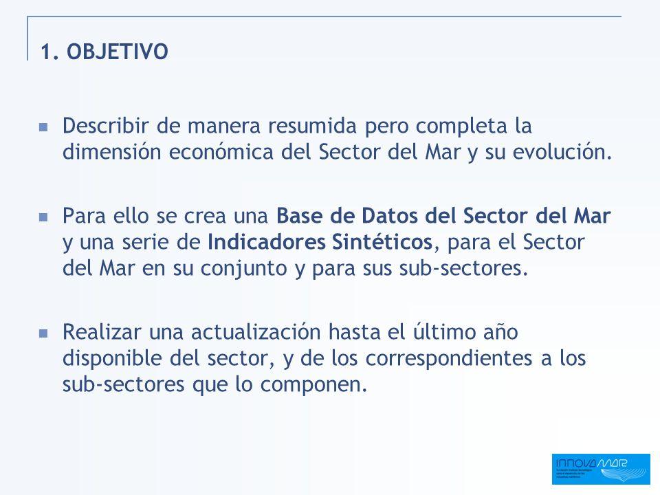 1. OBJETIVO Describir de manera resumida pero completa la dimensión económica del Sector del Mar y su evolución. Para ello se crea una Base de Datos d