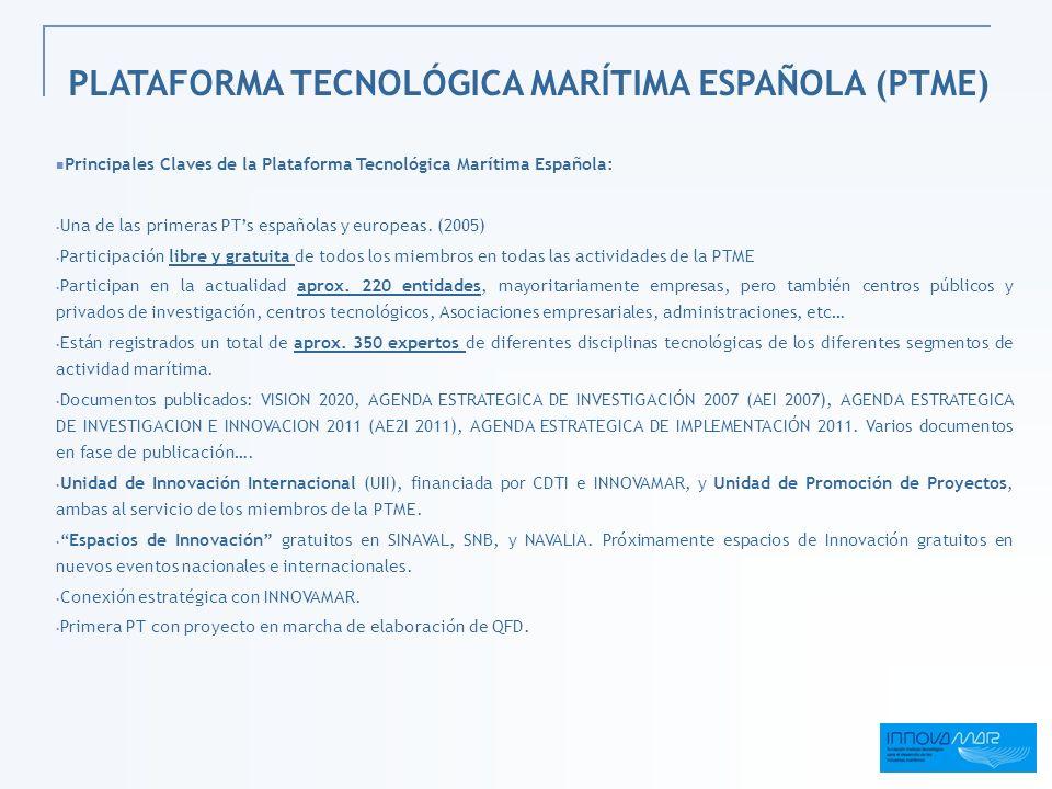 Principales Claves de la Plataforma Tecnológica Marítima Española: Una de las primeras PTs españolas y europeas. (2005) Participación libre y gratuita