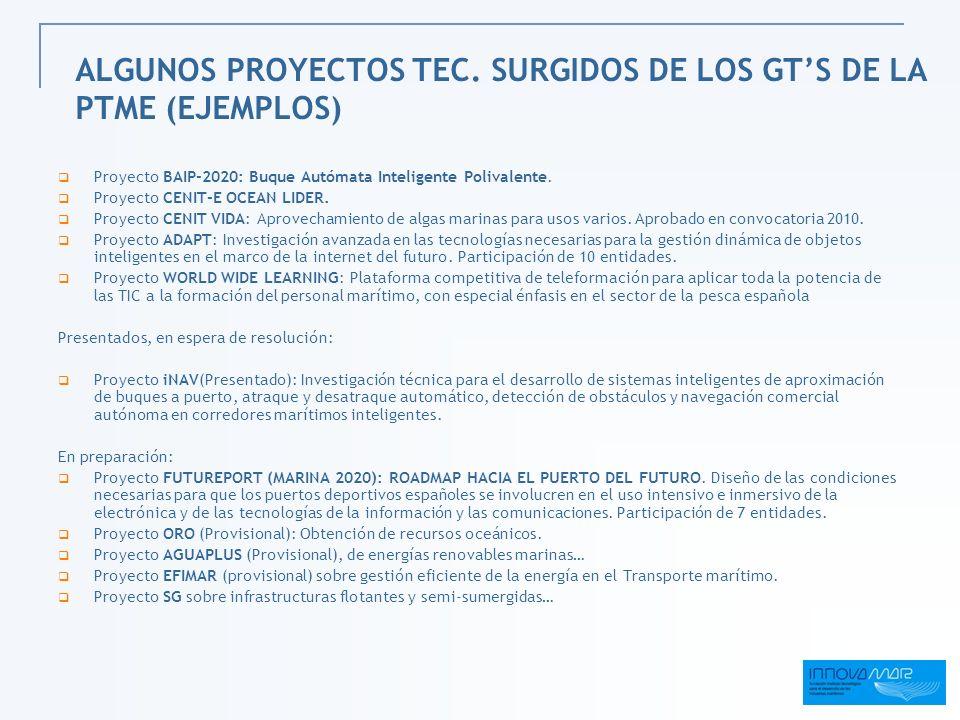ALGUNOS PROYECTOS TEC. SURGIDOS DE LOS GTS DE LA PTME (EJEMPLOS) Proyecto BAIP-2020: Buque Autómata Inteligente Polivalente. Proyecto CENIT-E OCEAN LI