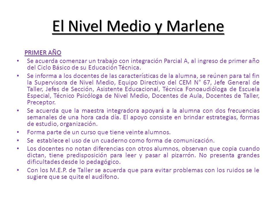 El Nivel Medio y Marlene PRIMER AÑO Se acuerda comenzar un trabajo con integración Parcial A, al ingreso de primer año del Ciclo Básico de su Educació