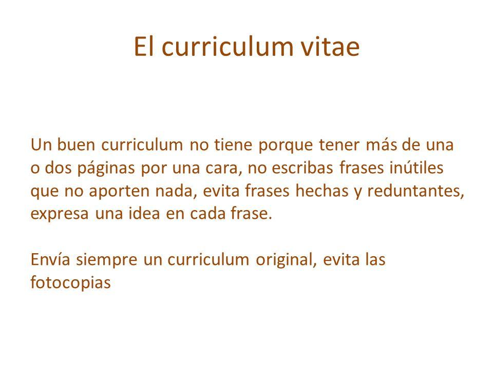 El curriculum vitae Cuida su imagen y presentación: escríbelo a ordenador.