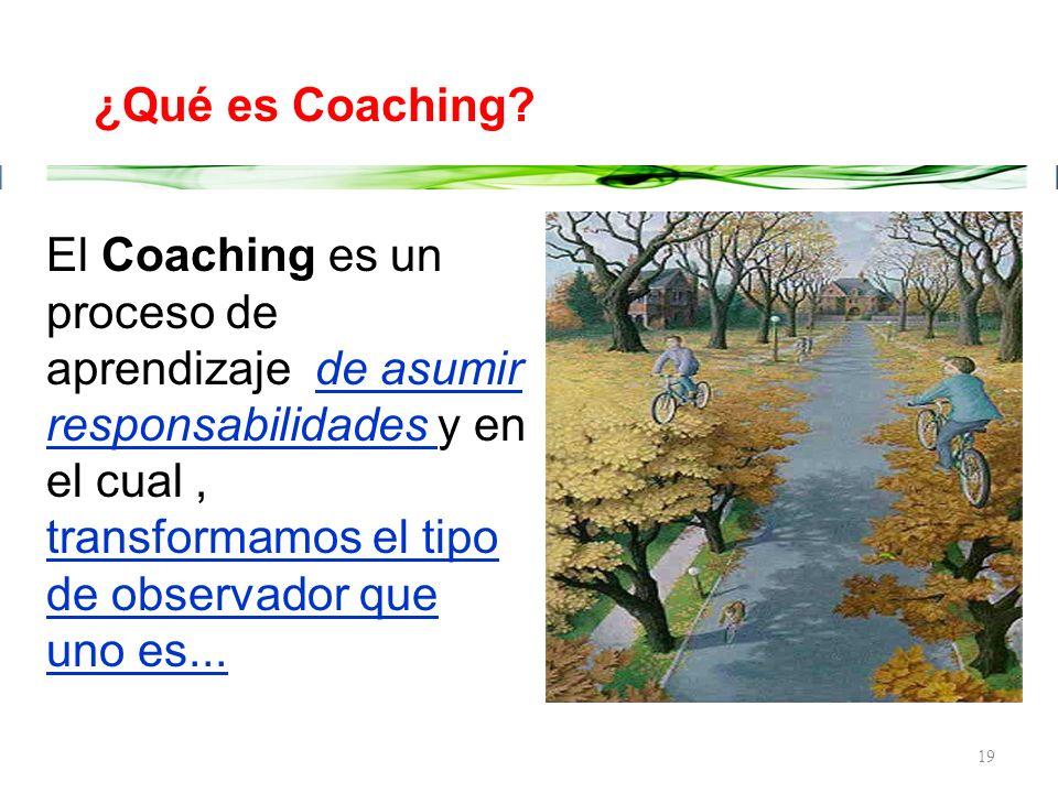 18 El Coaching es una disciplina que apunta al logro de objetivos o metas que te permiten un mejor desarrollo personal y profesional, a partir de un p
