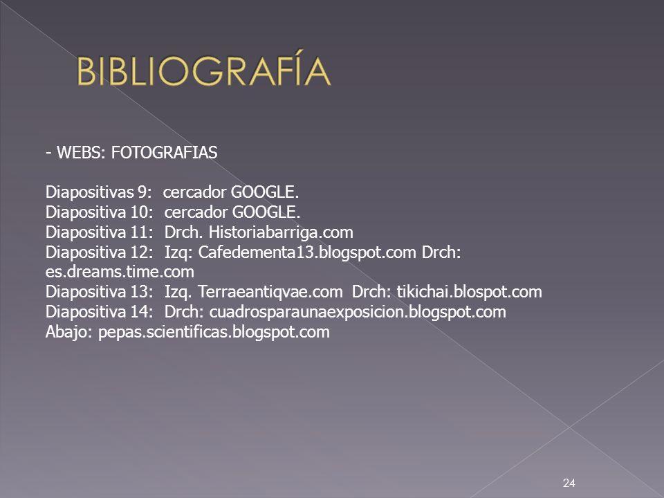 24 - WEBS: FOTOGRAFIAS Diapositivas 9: cercador GOOGLE. Diapositiva 10: cercador GOOGLE. Diapositiva 11: Drch. Historiabarriga.com Diapositiva 12: Izq