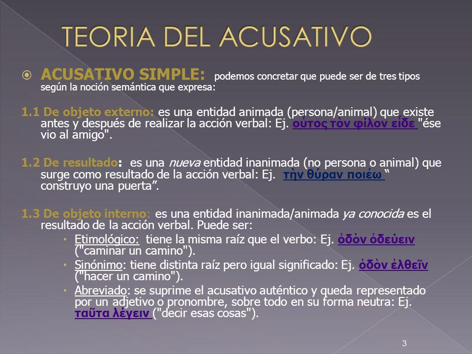 EL ACUSATIVO DOBLE : podemos encontrarnos tres tipos: 2.1 De persona y cosa: Es la construcción llamada doble acusativo, consiste en la aparición de dos acusativos (externo / resultado) regidos por verbos como: pedir algo a alguien ( ατω), interrogar algo a alguien (ρωτω), enseñar (διδασκω), ocultar (λανθανω), hacer recordar (μιμνεσκω), quitar (αφαιρω, ποστερω), vestir (νδω, μβιευω), ordenar (κελυω), impedir (κωλω), tratar bien o mal etc.