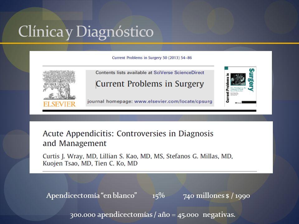 Clínica y Diagnóstico Apendicectomía en blanco15%740 millones $ / 1990 300.000 apendicectomías / año = 45.000 negativas.