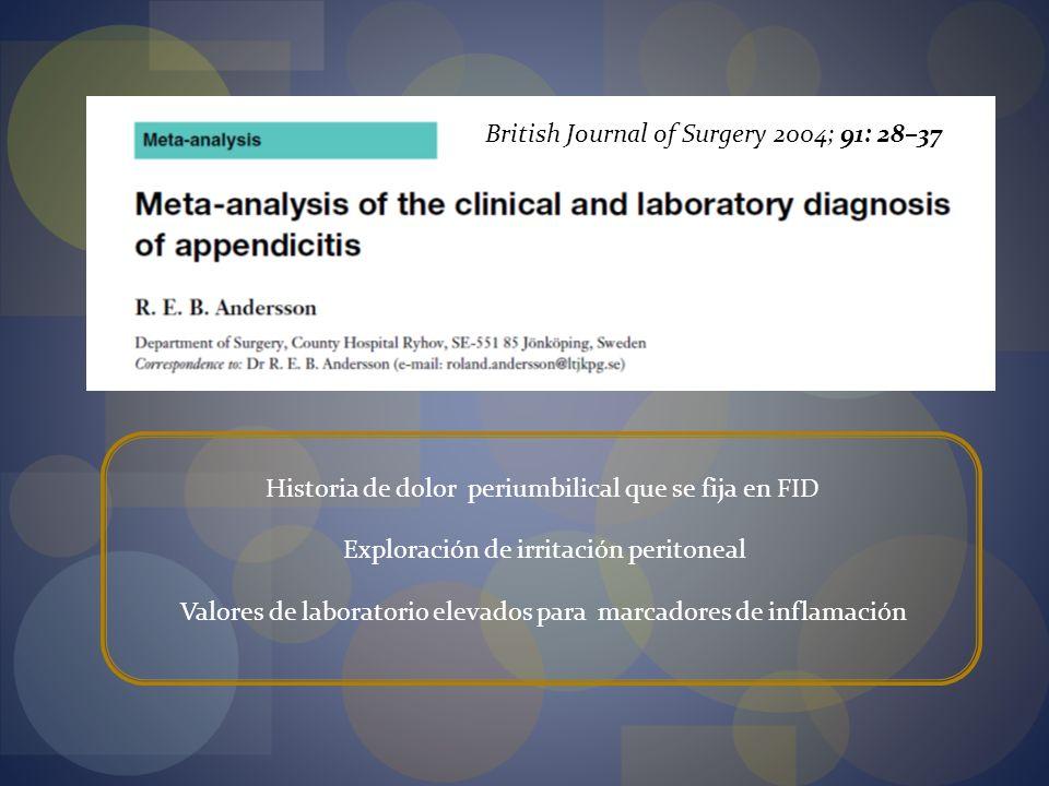 Historia de dolor periumbilical que se fija en FID Exploración de irritación peritoneal Valores de laboratorio elevados para marcadores de inflamación