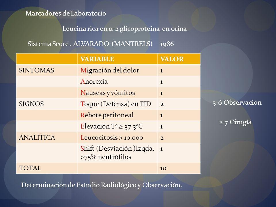 Sistema Score. ALVARADO (MANTRELS) Marcadores de Laboratorio Leucina rica en α-2 glicoproteína en orina VARIABLEVALOR SINTOMASMigración del dolor1 Ano