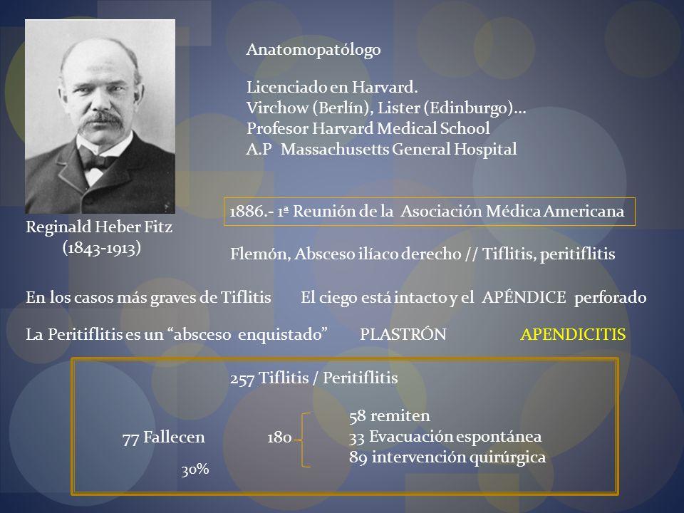 1886.- 1ª Reunión de la Asociación Médica Americana Reginald Heber Fitz (1843-1913) Anatomopatólogo Licenciado en Harvard. Virchow (Berlín), Lister (E
