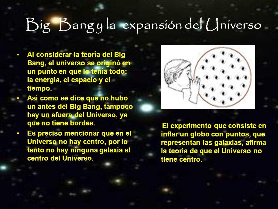 Big Bang y la expansión del Universo Al considerar la teoría del Big Bang, el universo se originó en un punto en que lo tenía todo: la energía, el esp