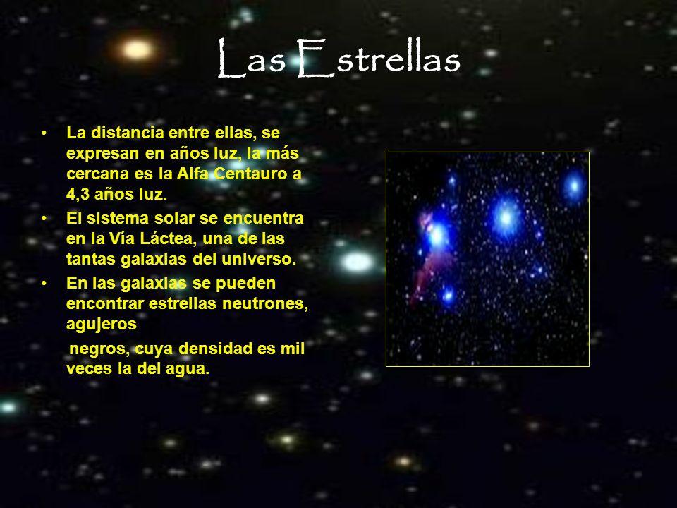 Las Estrellas La distancia entre ellas, se expresan en años luz, la más cercana es la Alfa Centauro a 4,3 años luz. El sistema solar se encuentra en l