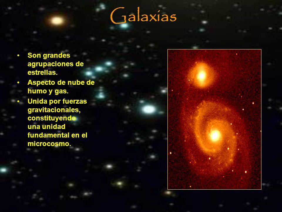 Galaxias Son grandes agrupaciones de estrellas. Aspecto de nube de humo y gas. Unida por fuerzas gravitacionales, constituyendo una unidad fundamental