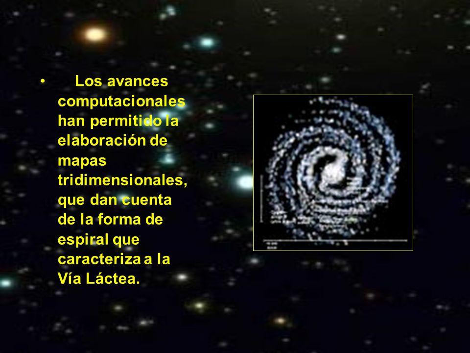 Los avances computacionales han permitido la elaboración de mapas tridimensionales, que dan cuenta de la forma de espiral que caracteriza a la Vía Lác