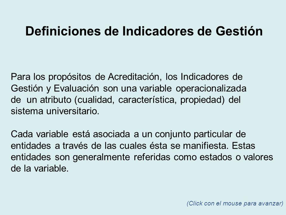 Para los propósitos de Acreditación, los Indicadores de Gestión y Evaluación son una variable operacionalizada de un atributo (cualidad, característic