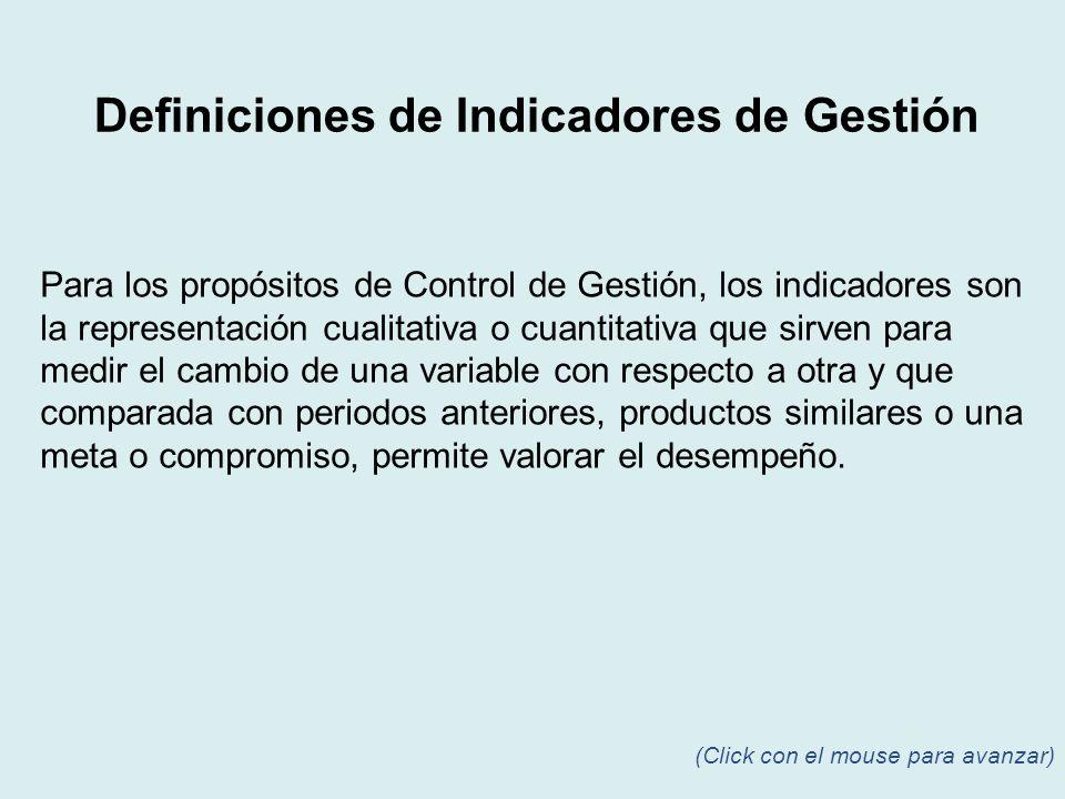 Para los propósitos de Control de Gestión, los indicadores son la representación cualitativa o cuantitativa que sirven para medir el cambio de una var