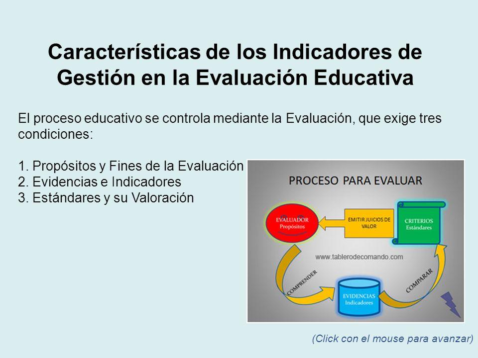 El proceso educativo se controla mediante la Evaluación, que exige tres condiciones: 1. Propósitos y Fines de la Evaluación 2. Evidencias e Indicadore