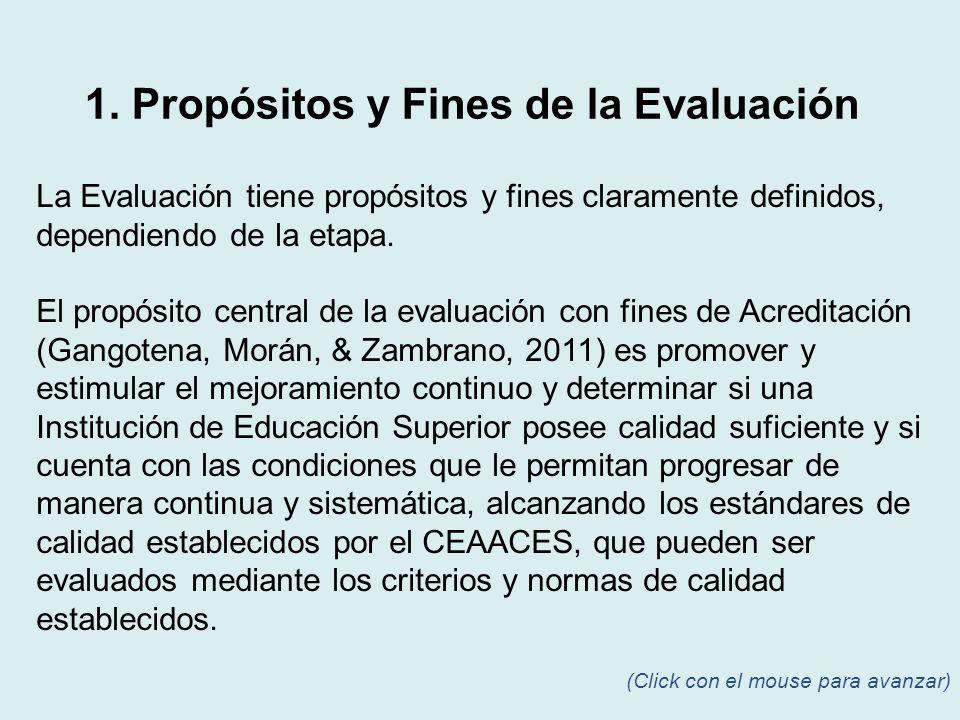 La Evaluación tiene propósitos y fines claramente definidos, dependiendo de la etapa. El propósito central de la evaluación con fines de Acreditación