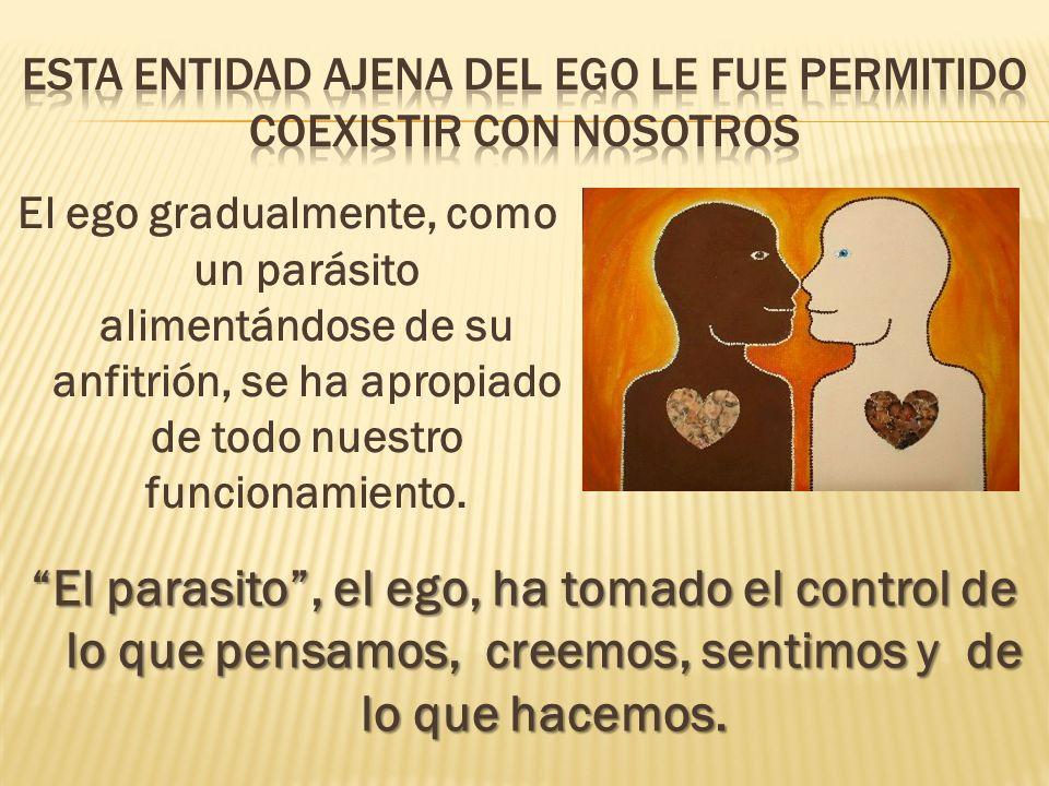 El ego gradualmente, como un parásito alimentándose de su anfitrión, se ha apropiado de todo nuestro funcionamiento. El parasito, el ego, ha tomado el