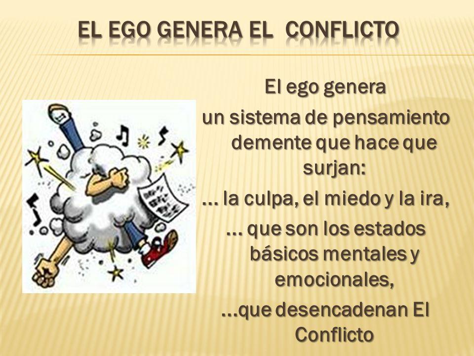 El ego genera un sistema de pensamiento demente que hace que surjan:... la culpa, el miedo y la ira,... que son los estados básicos mentales y emocion