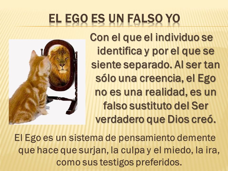 Con el que el individuo se identifica y por el que se siente separado. Al ser tan sólo una creencia, el Ego no es una realidad, es un falso sustituto