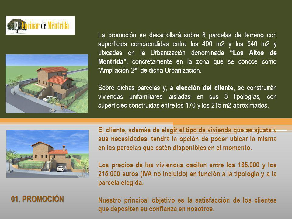 01. PROMOCIÓN La promoción se desarrollará sobre 8 parcelas de terreno con superficies comprendidas entre los 400 m2 y los 540 m2 y ubicadas en la Urb