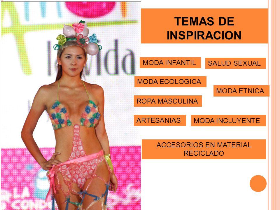 TEMAS DE INSPIRACION SALUD SEXUAL MODA ECOLOGICA MODA ETNICA ROPA MASCULINA MODA INFANTIL MODA INCLUYENTE ARTESANIAS ACCESORIOS EN MATERIAL RECICLADO