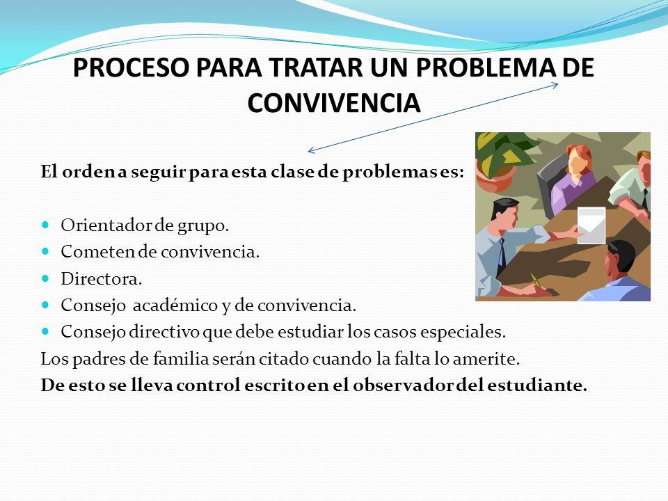 PROCESO PARA TRATAR UN PROBLEMA DE CONVIVENCIA El orden a seguir para esta clase de problemas es: Orientador de grupo.