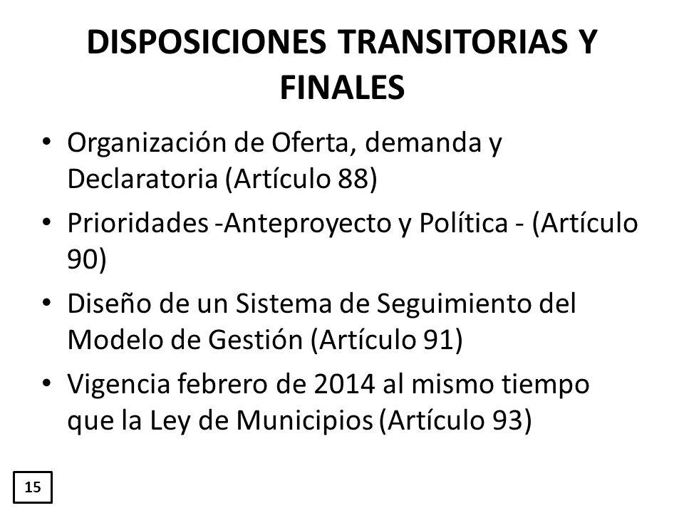DISPOSICIONES TRANSITORIAS Y FINALES Organización de Oferta, demanda y Declaratoria (Artículo 88) Prioridades -Anteproyecto y Política - (Artículo 90)
