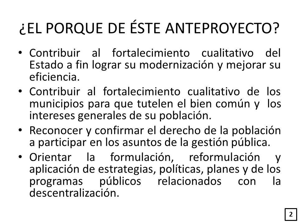 MODELO DE GESTIÓN DE LA DESCENTRALIZACIÓN Finalidad y formulación de presupuestos Artículo 36 - 44 Ciclo de Descentralización Planes de Descentralización.