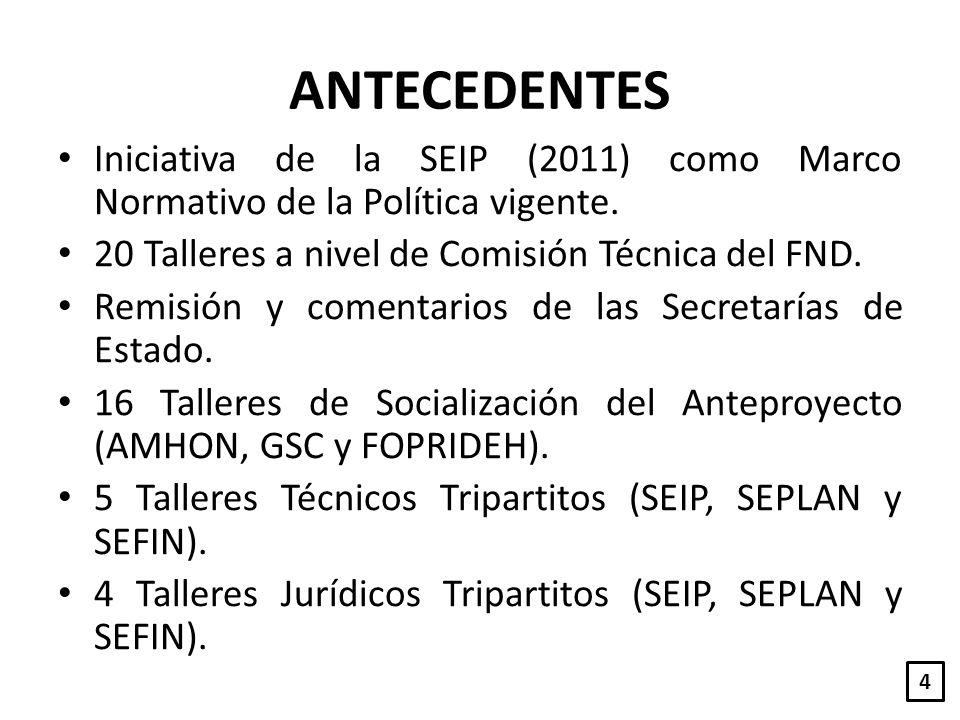ANTECEDENTES Iniciativa de la SEIP (2011) como Marco Normativo de la Política vigente. 20 Talleres a nivel de Comisión Técnica del FND. Remisión y com