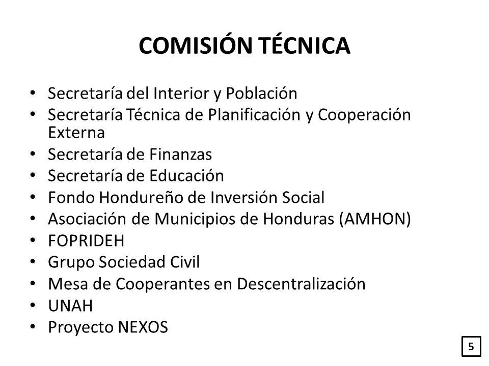 COMISIÓN TÉCNICA Secretaría del Interior y Población Secretaría Técnica de Planificación y Cooperación Externa Secretaría de Finanzas Secretaría de Ed