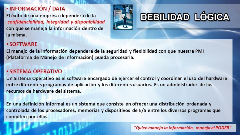 SOFTWARE El manejo de la información dependerá de la seguridad y flexibilidad con que nuestra PMI (Plataforma de Manejo de Información) pueda procesarla.