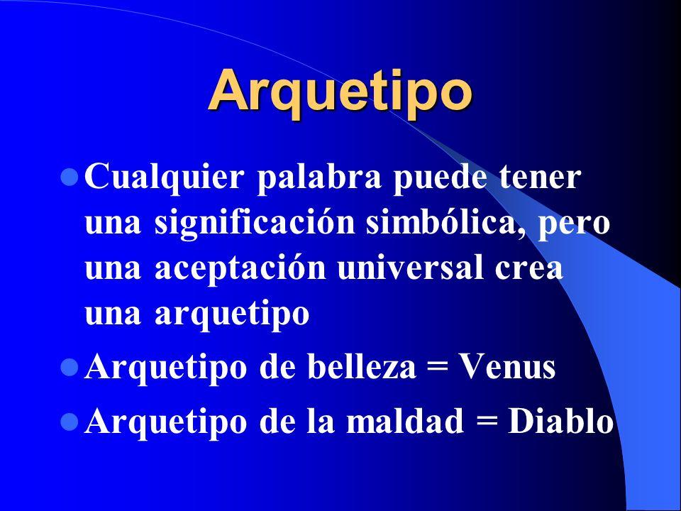 Arquetipo Cualquier palabra puede tener una significación simbólica, pero una aceptación universal crea una arquetipo Arquetipo de belleza = Venus Arq