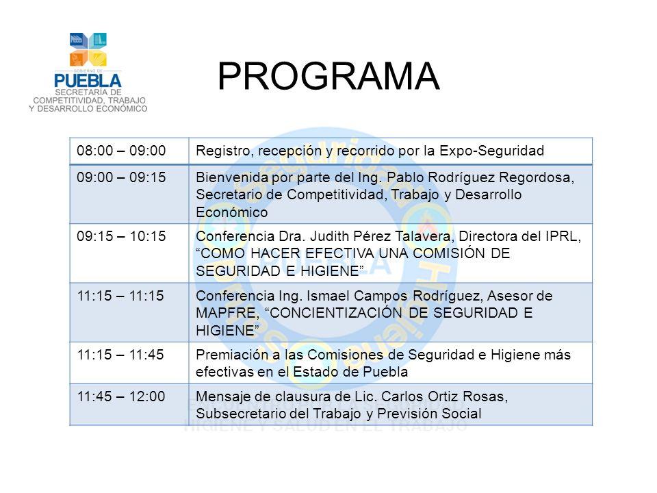PROGRAMA 08:00 – 09:00Registro, recepción y recorrido por la Expo-Seguridad 09:00 – 09:15Bienvenida por parte del Ing.