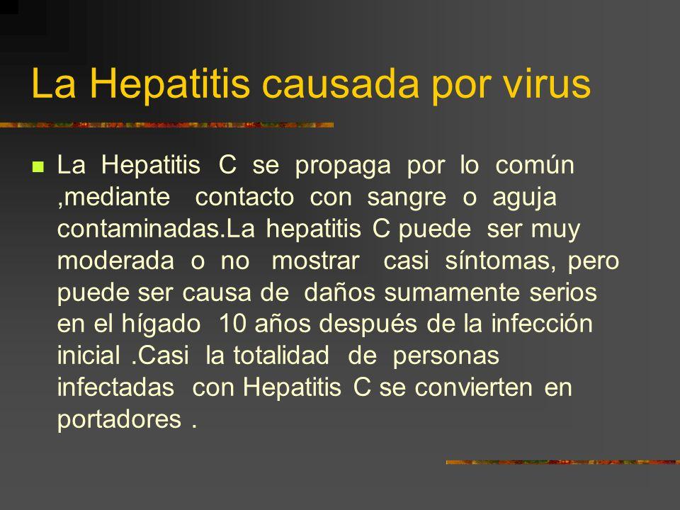 La Hepatitis causada por virus La Hepatitis B es la variante más común del virus.Se puede transmitir entre los miembro de una familia, a través del co