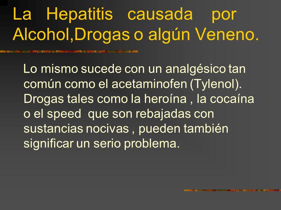 La Hepatitis causada por Alcohol,Drogas o algún Veneno. Por ejemplo : Soplar o aspirar vapores de pinturas o lacas es tóxico que advierten en su etiqu