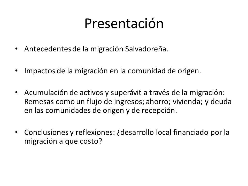 Presentación Antecedentes de la migración Salvadoreña. Impactos de la migración en la comunidad de origen. Acumulación de activos y superávit a través