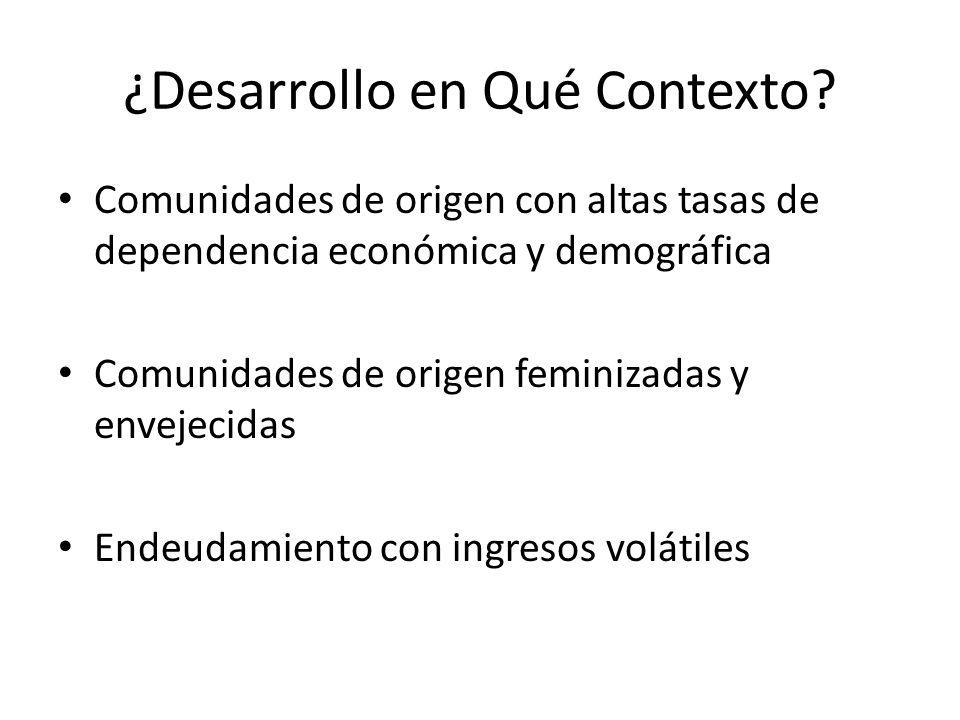 ¿Desarrollo en Qué Contexto? Comunidades de origen con altas tasas de dependencia económica y demográfica Comunidades de origen feminizadas y envejeci