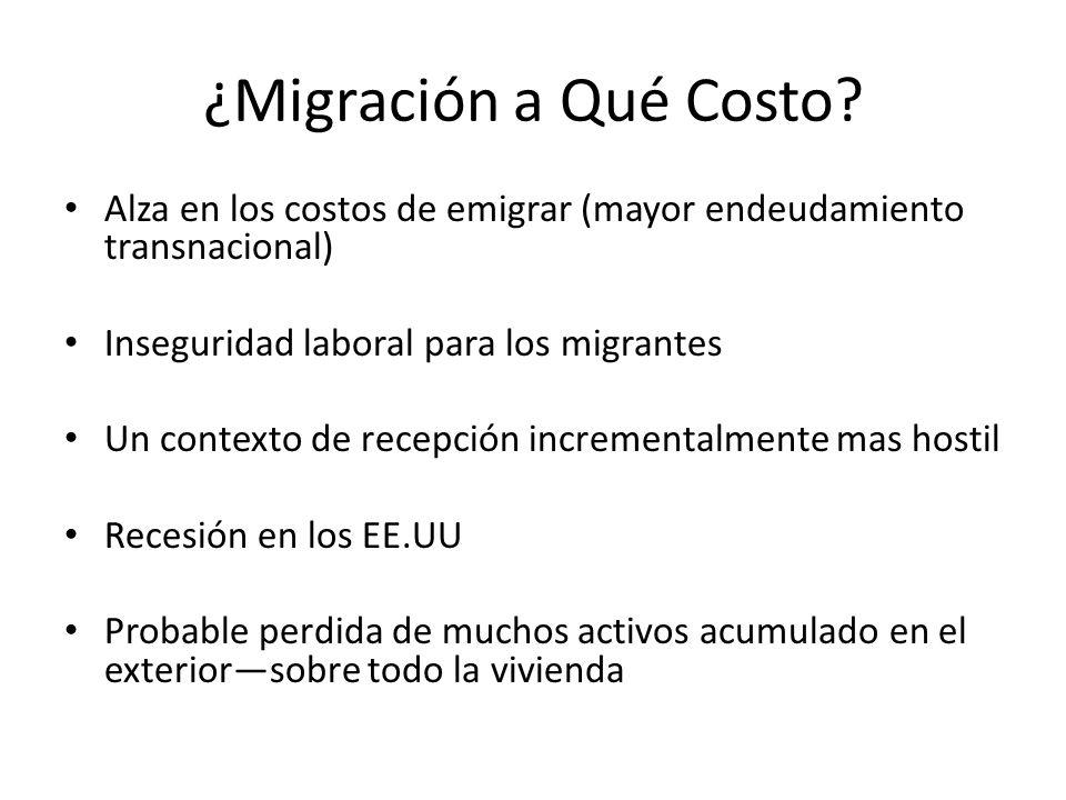 ¿Migración a Qué Costo? Alza en los costos de emigrar (mayor endeudamiento transnacional) Inseguridad laboral para los migrantes Un contexto de recepc