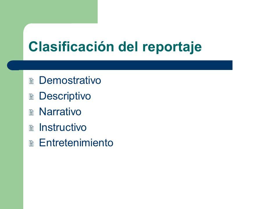 Clasificación del reportaje Demostrativo Descriptivo Narrativo Instructivo Entretenimiento