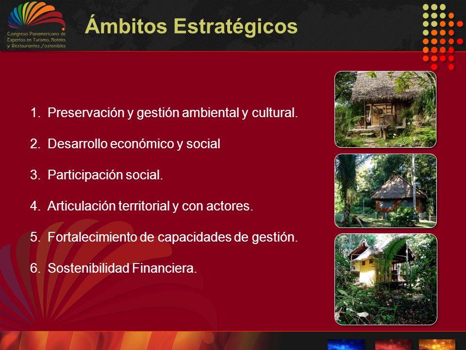 Ámbitos Estratégicos 1.Preservación y gestión ambiental y cultural. 2.Desarrollo económico y social 3.Participación social. 4.Articulación territorial