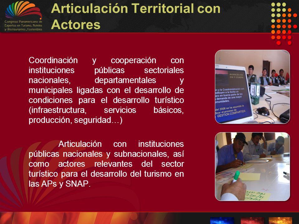 Articulación Territorial con Actores Coordinación y cooperación con instituciones públicas sectoriales nacionales, departamentales y municipales ligad