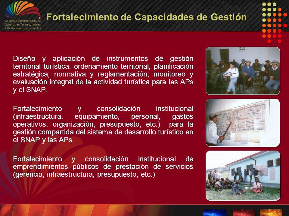 Fortalecimiento de Capacidades de Gestión Diseño y aplicación de instrumentos de gestión territorial turística: ordenamiento territorial; planificació
