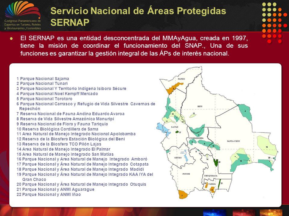 Servicio Nacional de Áreas Protegidas SERNAP El SERNAP es una entidad desconcentrada del MMAyAgua, creada en 1997, tiene la misión de coordinar el fun