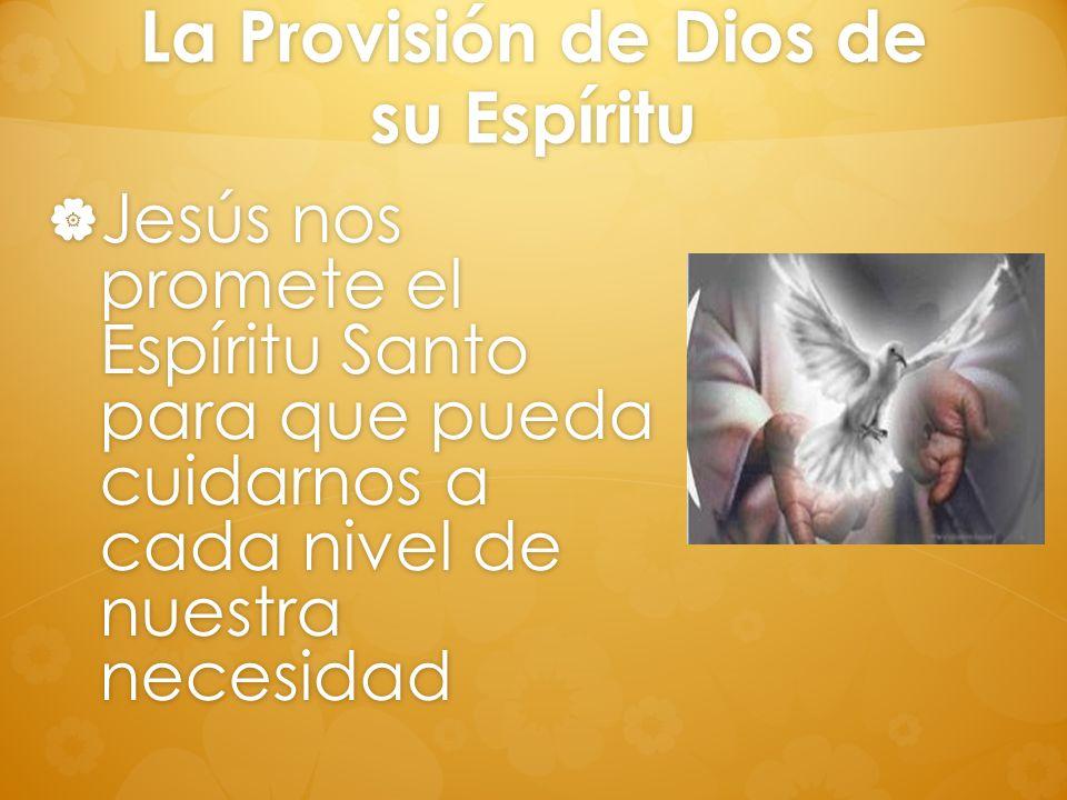 La Provisión de Dios de su Espíritu Jesús nos promete el Espíritu Santo para que pueda cuidarnos a cada nivel de nuestra necesidad Jesús nos promete e
